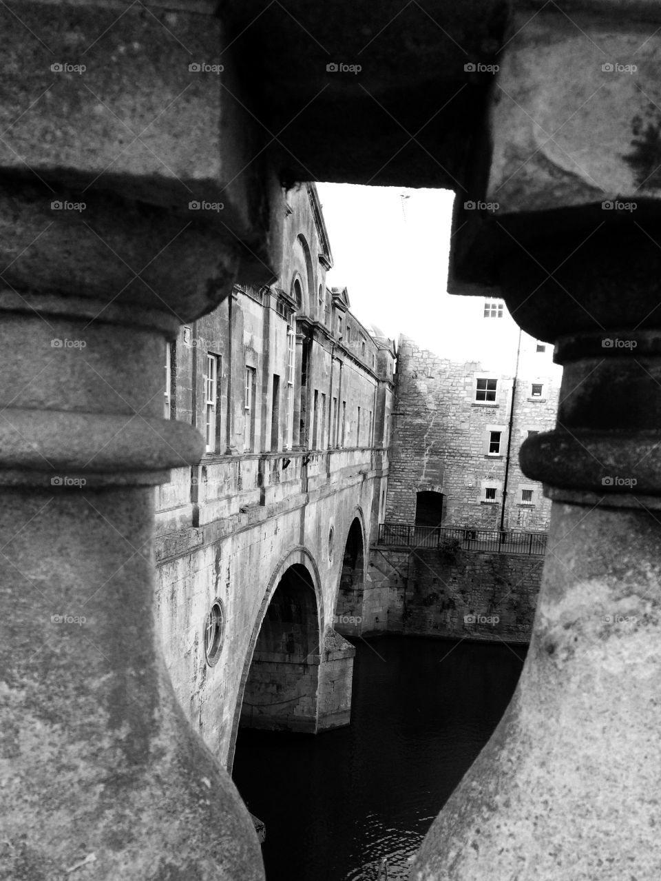 Beautiful Bath. Peering through a decorative wall to photo this amazing architectural bridge ....