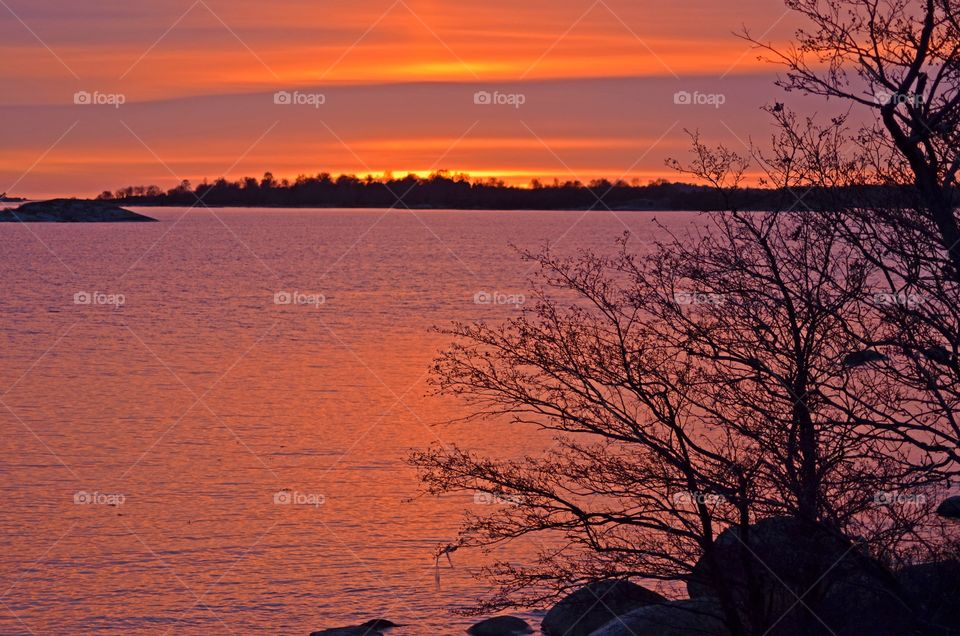 Scenic view of sunset in sweden