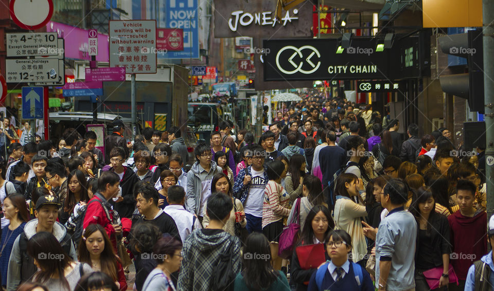 Crowded. Mongkok Hong Kong, the most densely populated place on the planet