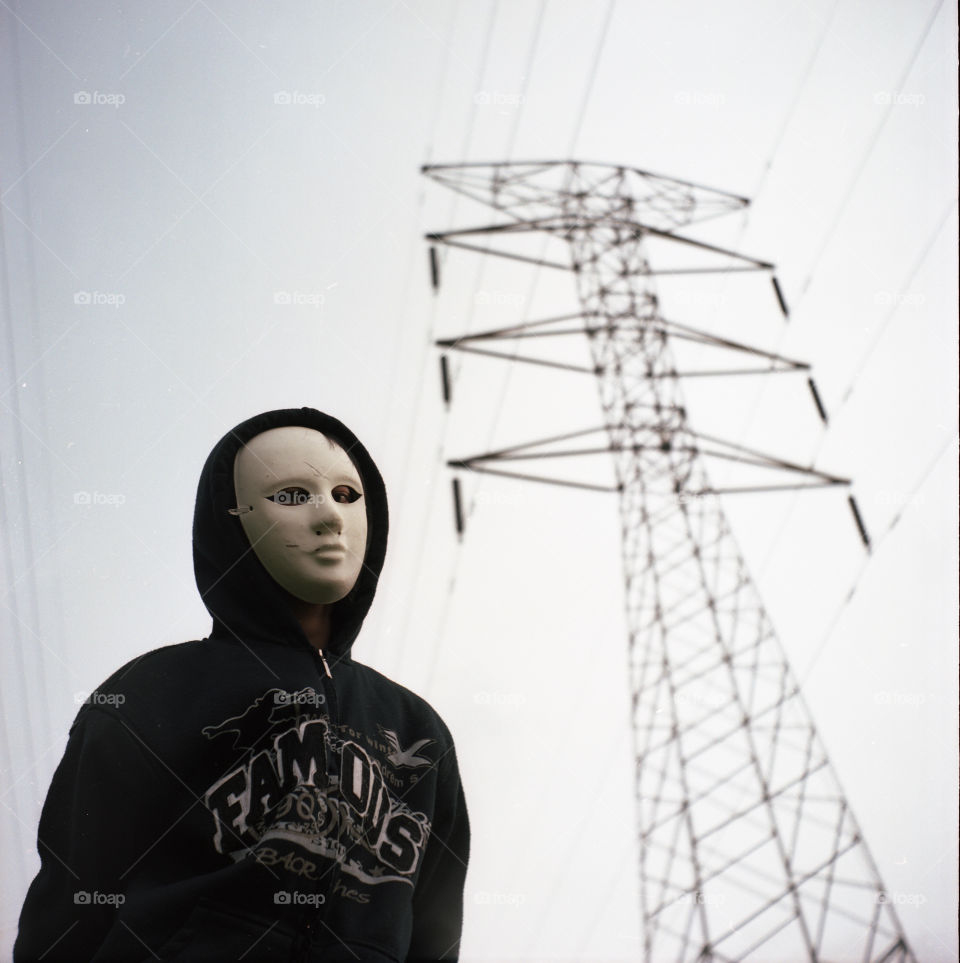 Shadow Mode. Found a suitable place with cables to shoot. With a mask and jacket.