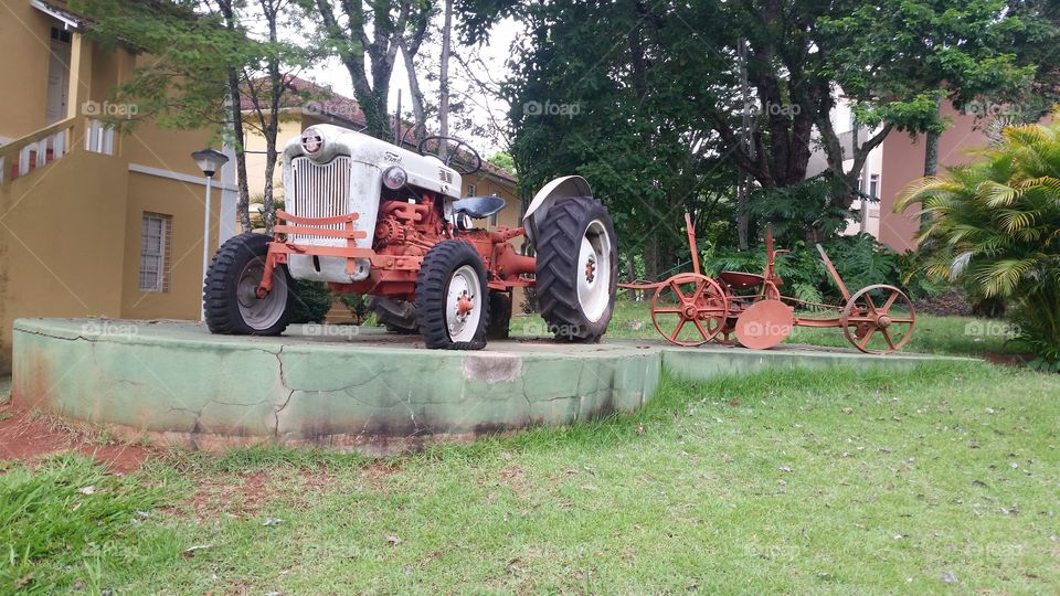 View of Vintage damaged tractor
