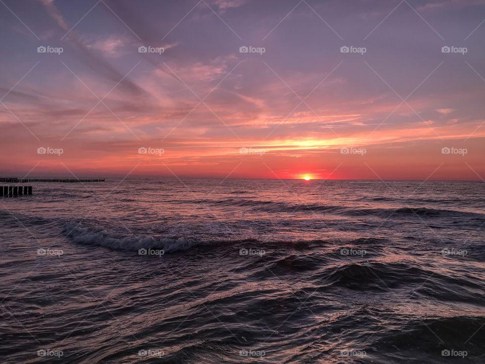 Sea sunset on the Baltic Sea coast, Poland