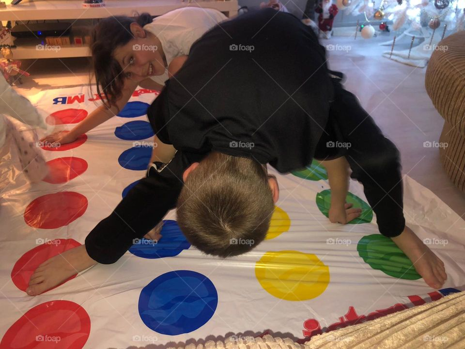 Kids having fun with the game  Twister