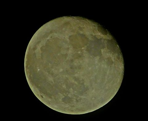 Amazing Hand-held photo of a full moon with craters