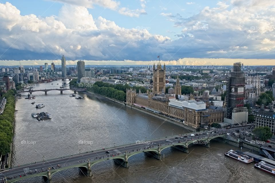 Aerial view of Thames river and Parliament in London, UK