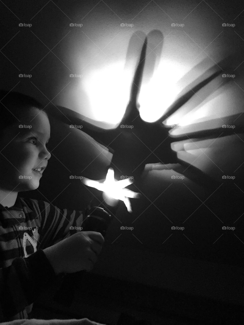 Little boy holding torch and gesturing