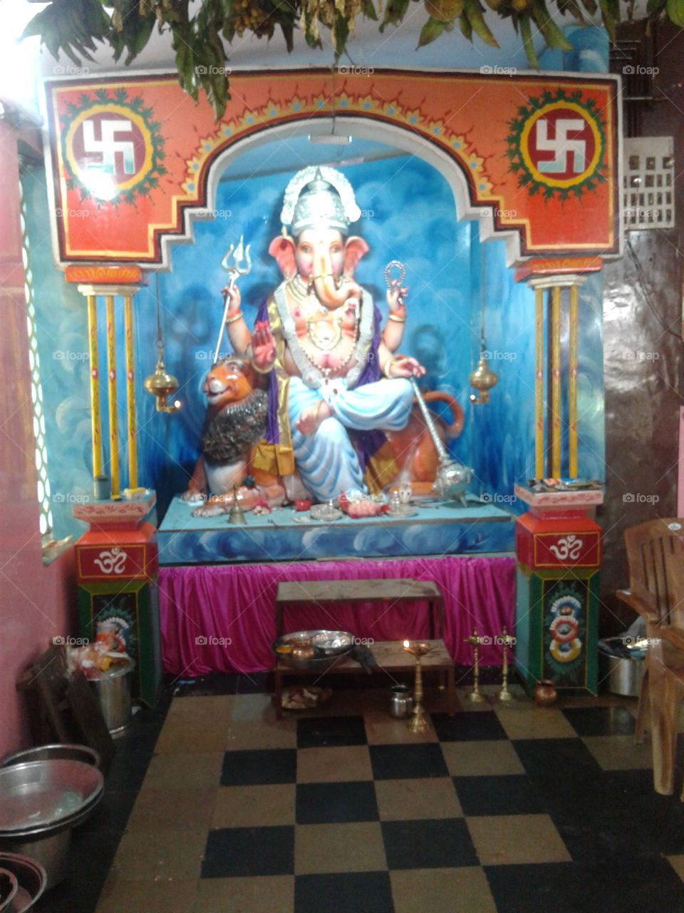 Lord ganesha statue and decorations for festival