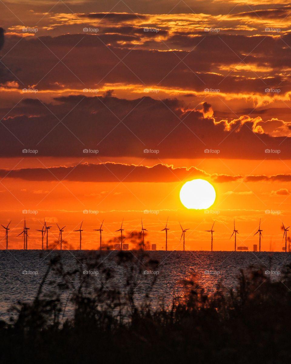Sunset, Dawn, Sun, Sea, Sky
