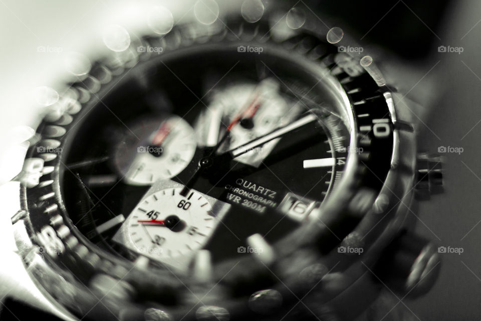 TIME is important but you can't buy any. close up of watch Chronograph - no post processing was used for this shot