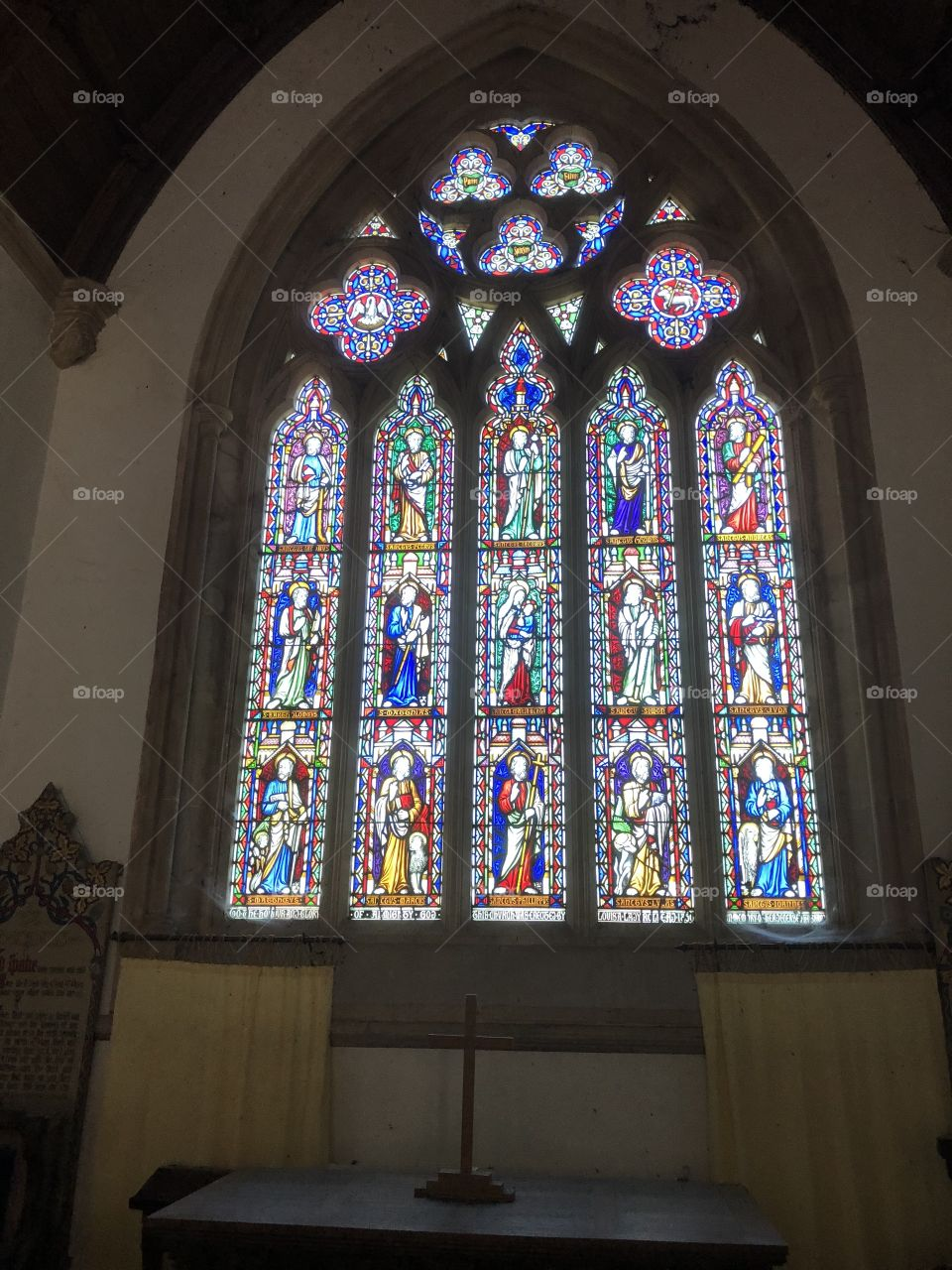 One of a number of beautiful stained glass windows to be found at St Mary's Church at Bicton, Devon.