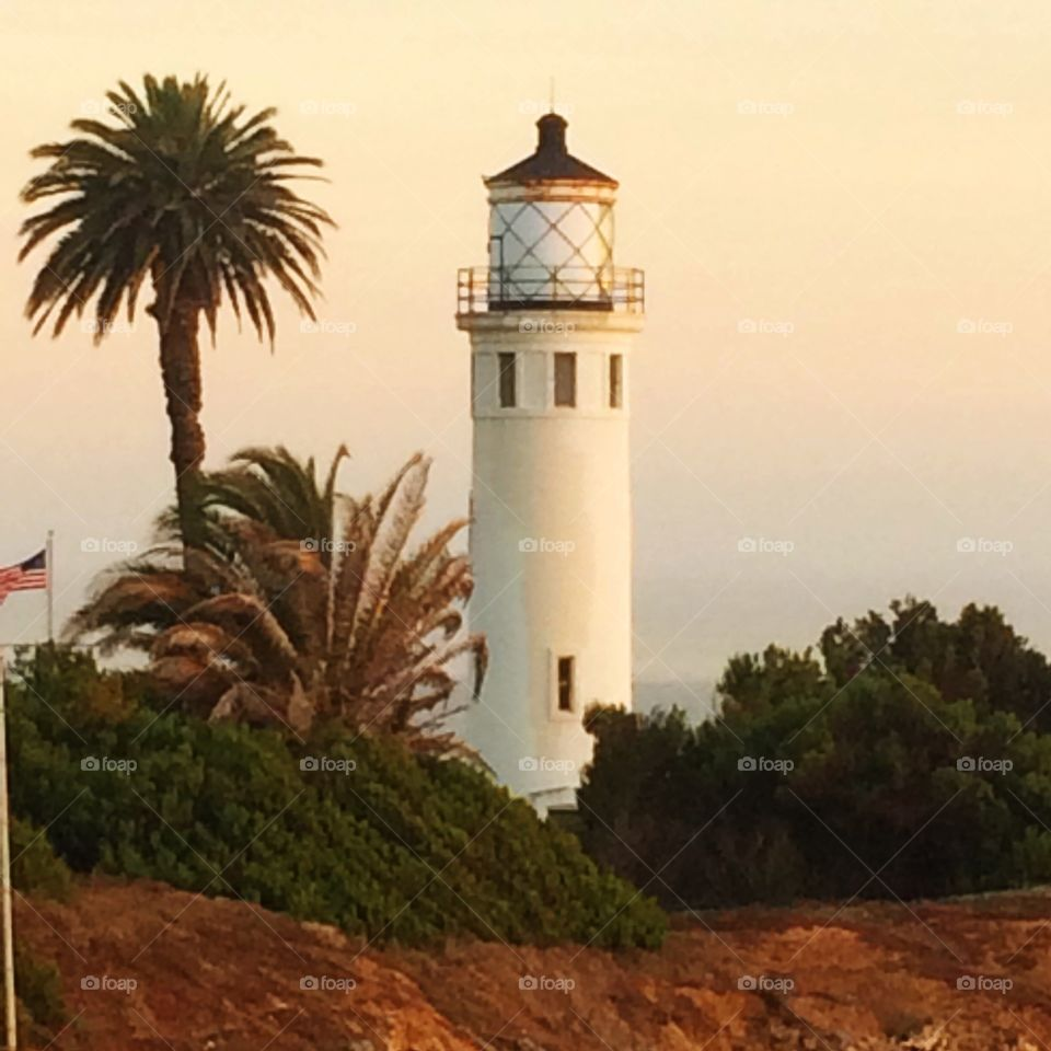 Lighthouse at Sunset. Point Vicente Lighthouse