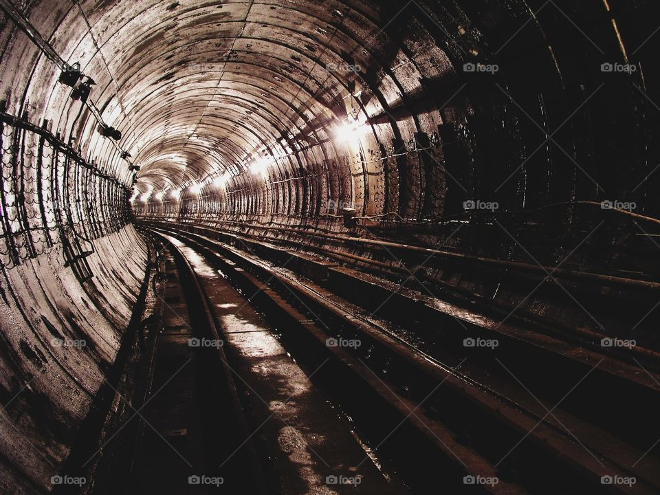 tunnel, underground passage, leading, metro, subway, rails, horizon, ride, train, escalator, subway,