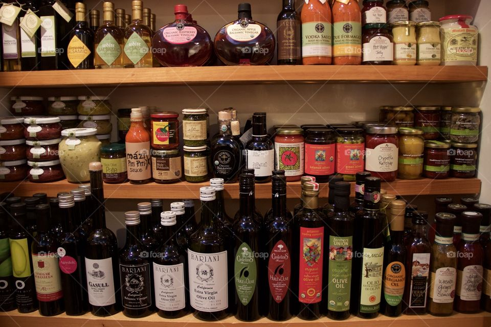 Some wines and spices in a shop in town.