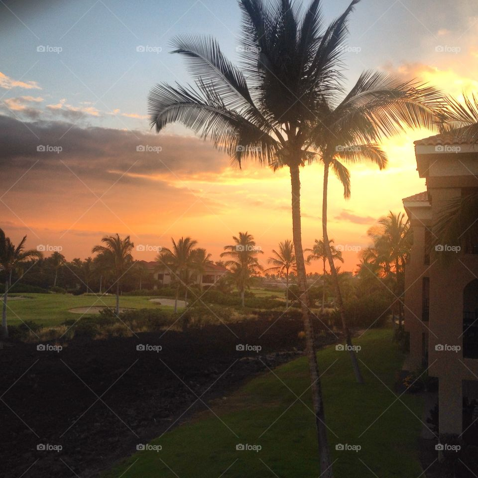 Beautiful Moment. Looking at the beautiful scenery from the balcony before sunset in Waikoloa, Island of Hawaii