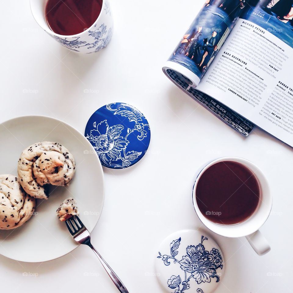 Tea time . Tea time with sesame breads  Take a break with magazine