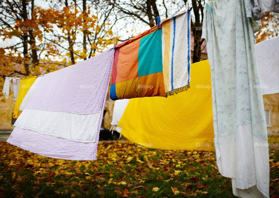 Laundry drying during autumn