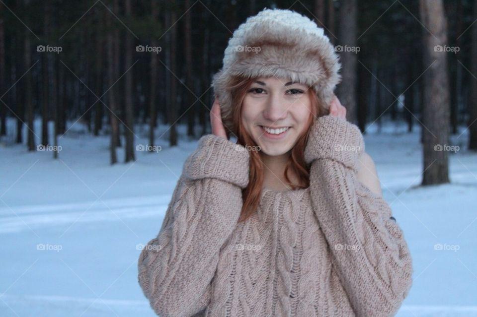 winter people red smile by mariyasakharova