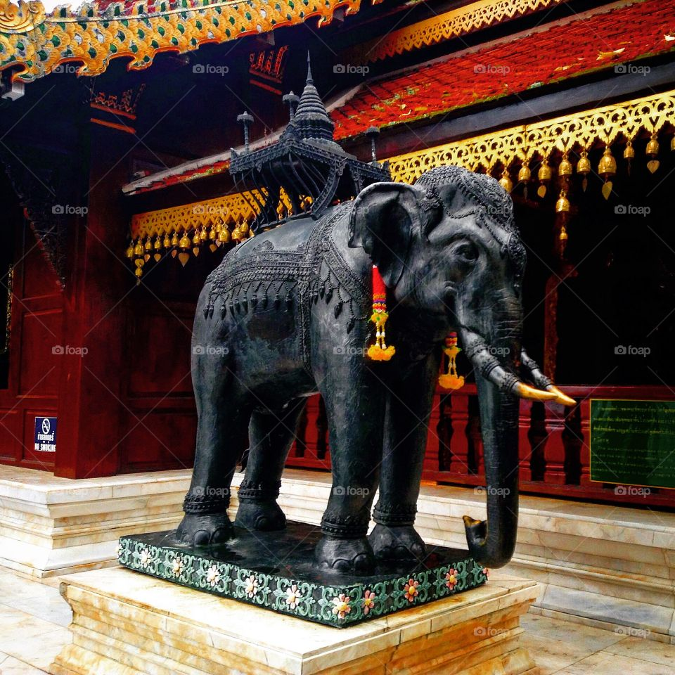 Elephant statue from a temple in the clouds, Chiang Mai, Thailand