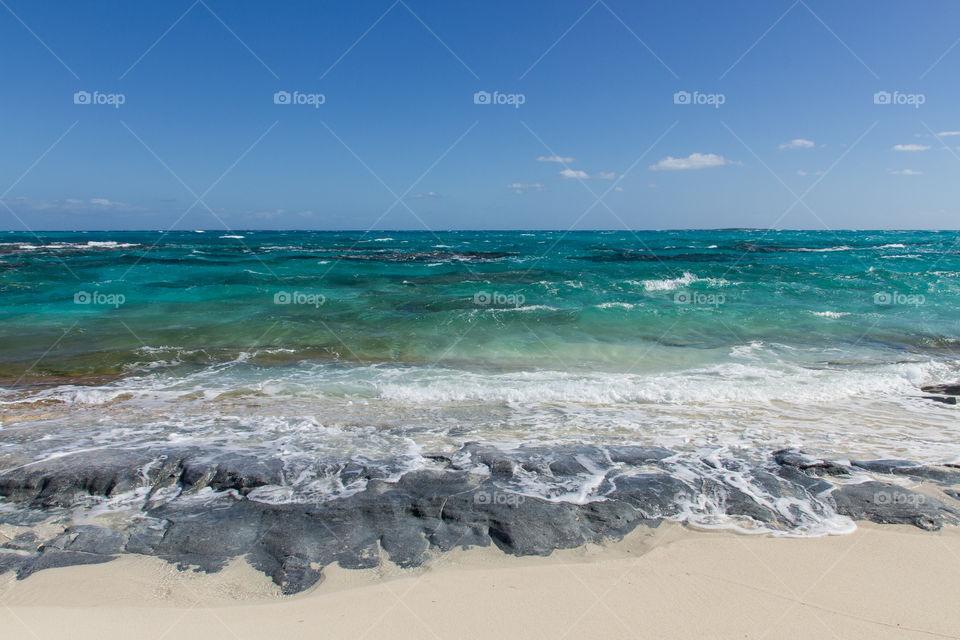 Beautiful blue sea at day