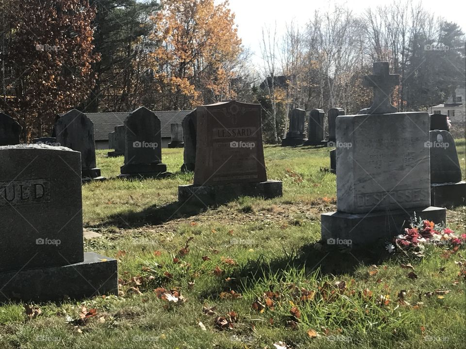 Creepy old graveyard photo in Maine