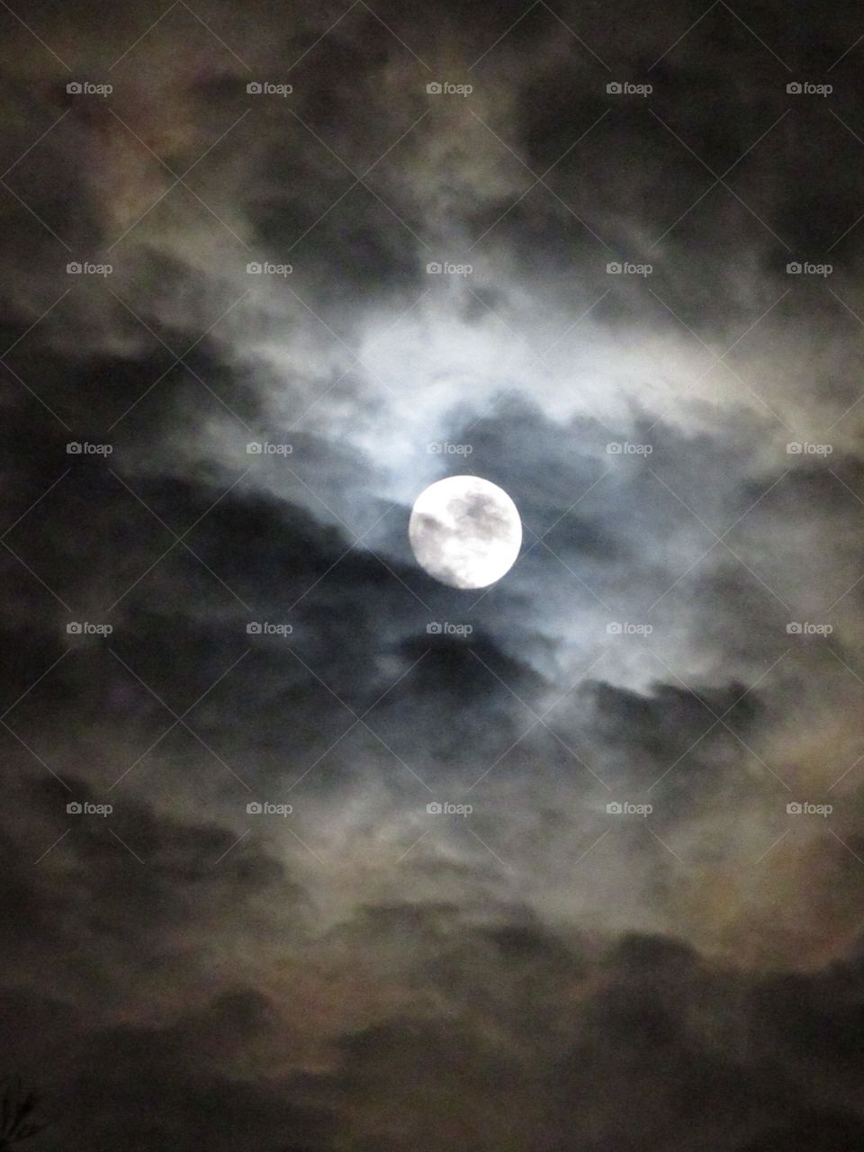 Moon and clou