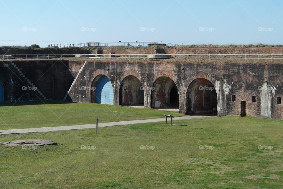 Scenic view of old bridge