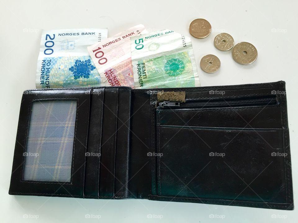 Norwegian Money. Wallet with Norwegian coins and bills.