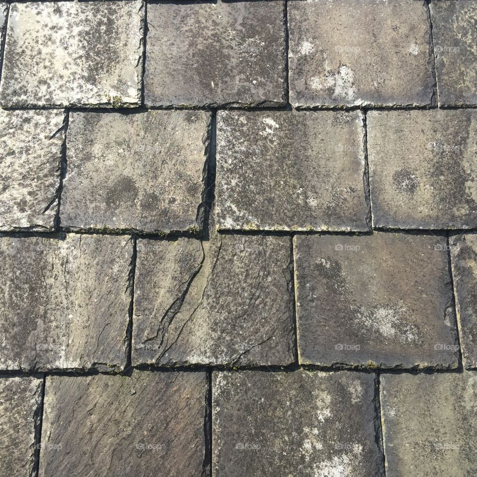 Slate roof tiles.
