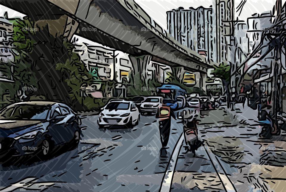 Cartoon of Bangkok Thailand