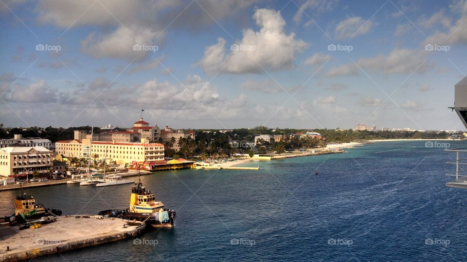 Docking into port in Nassau, The Bahamas. Such beautiful water and beaches. Friendly people and yummy food.