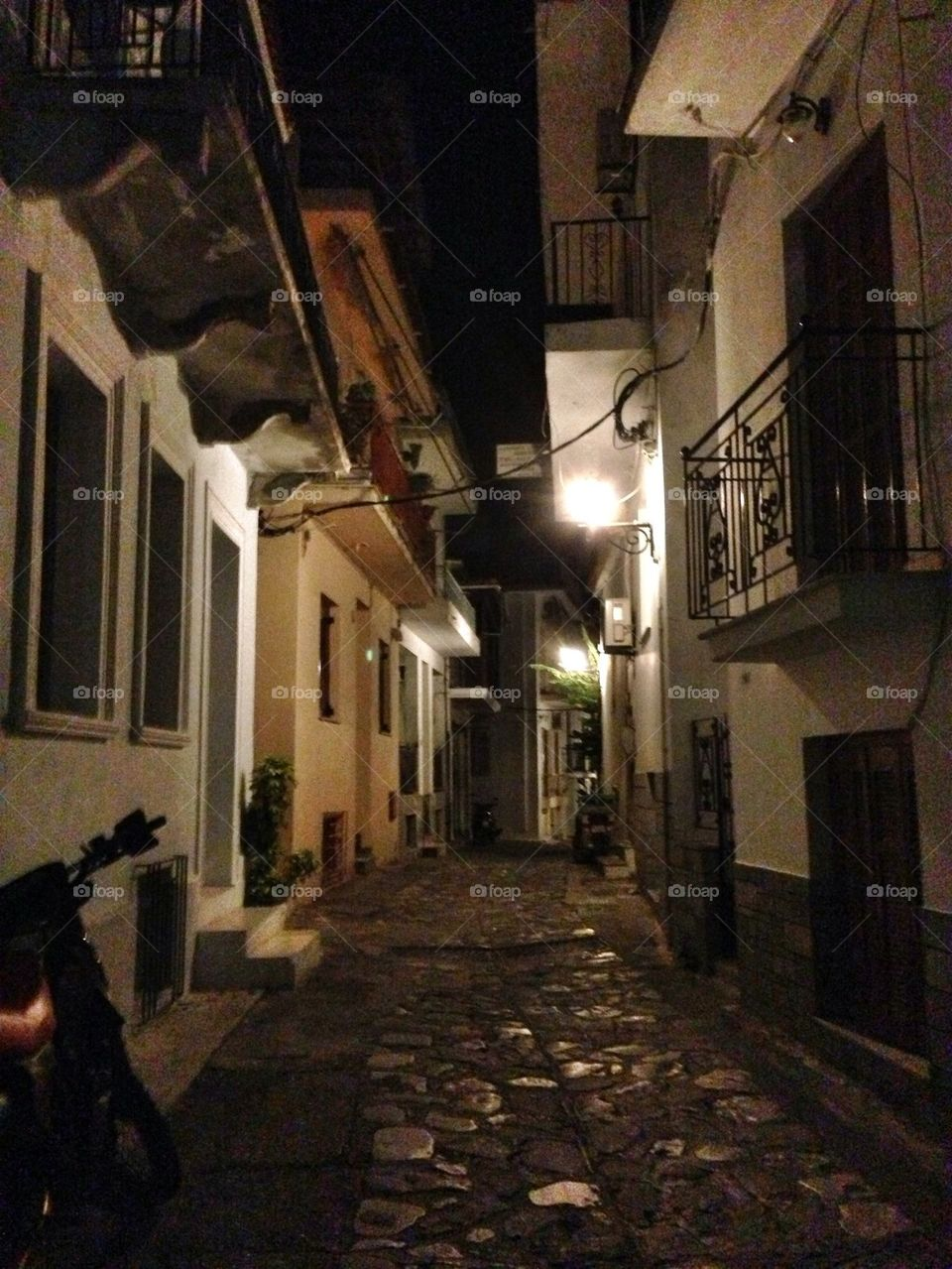 street night balconies houses by jeanello