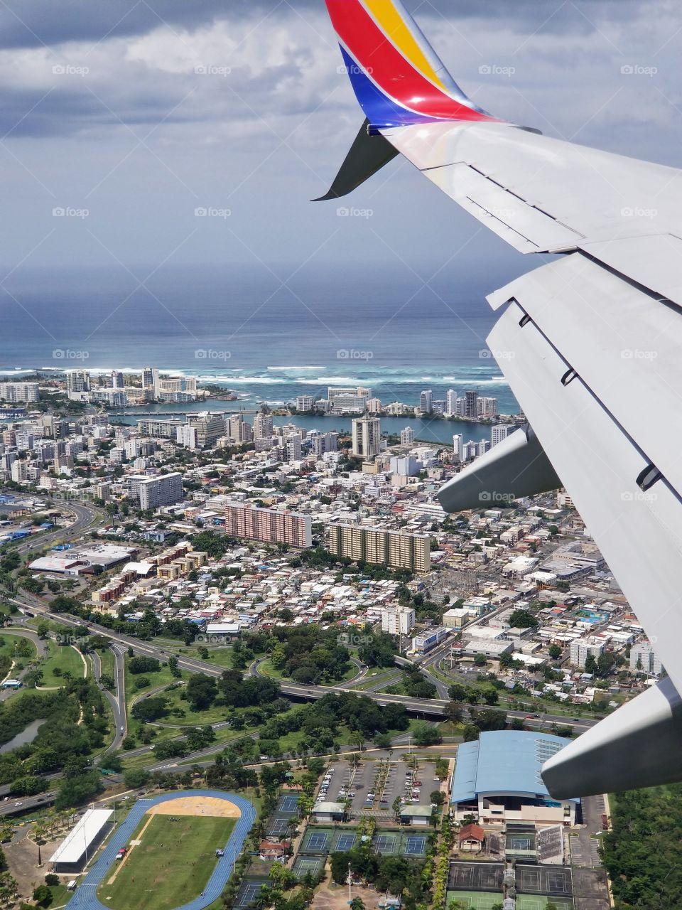 Flying into San Juan Puerto Rico Luis Munoz Marin Airport..Aeropuerto