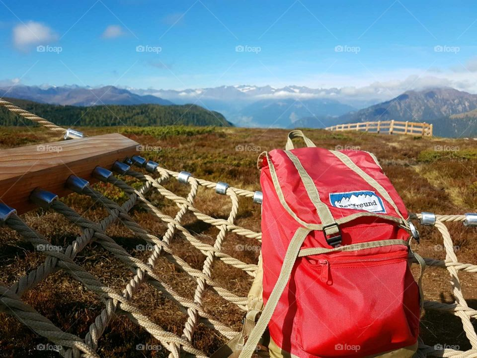 backpack on the top of the mountains