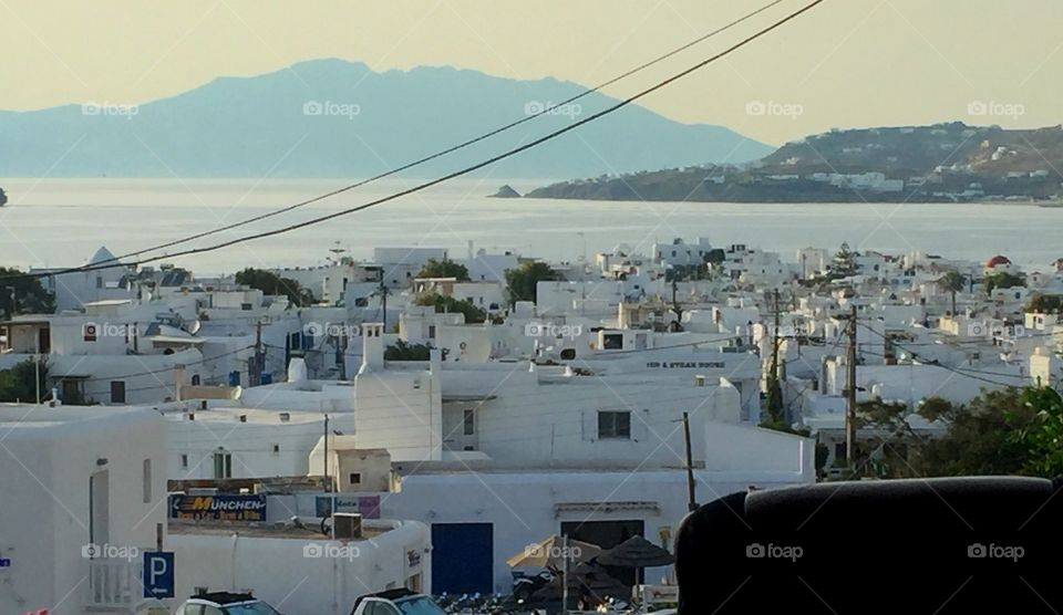 View of Mykonos from top of the hill.