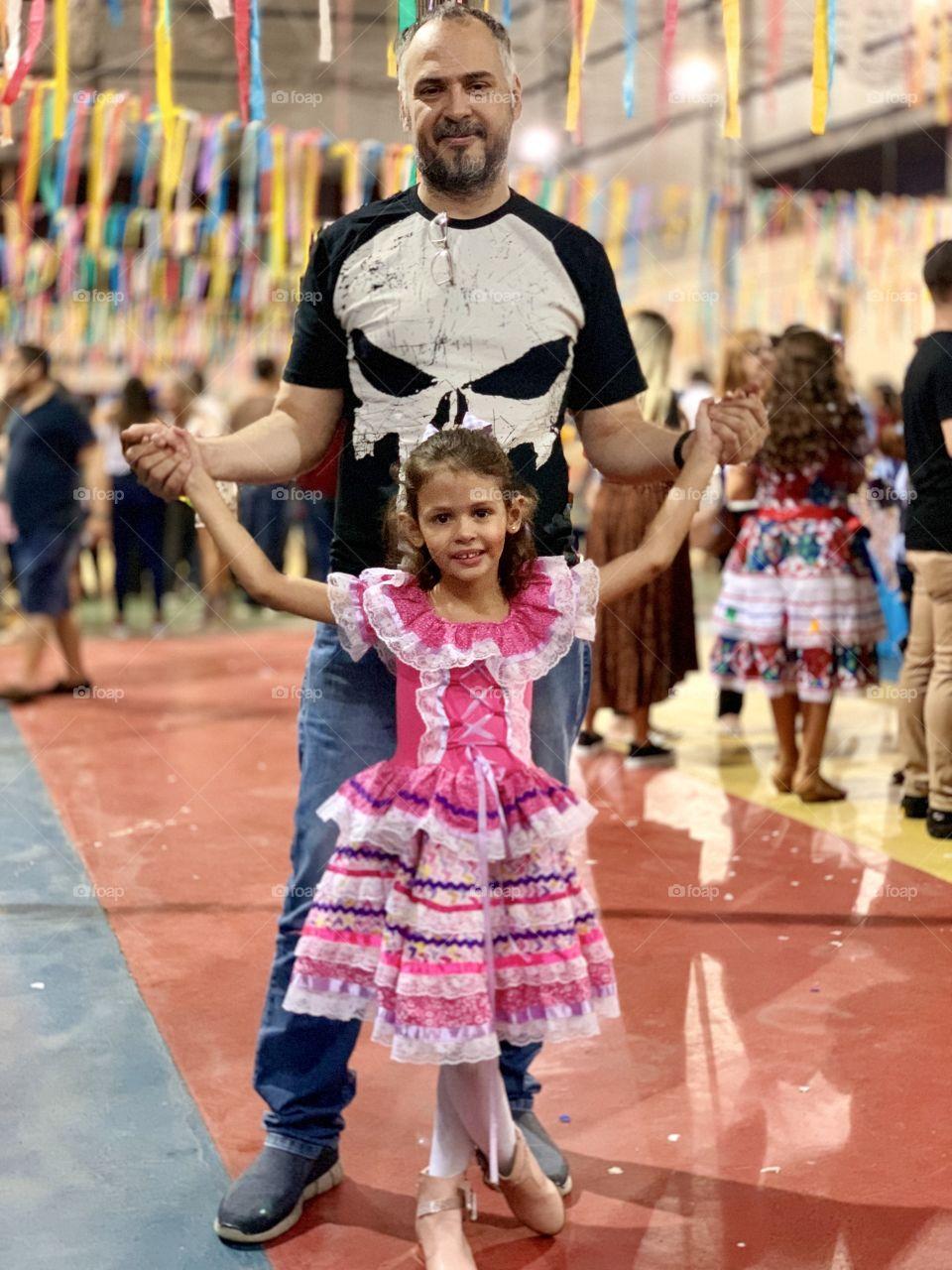 Das and daughter , party , Brazil, costume, festajunina