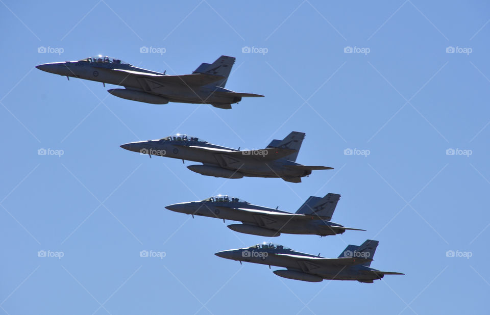 4 RAAF F-18F Super Hornets in formation at the 2013 Australian