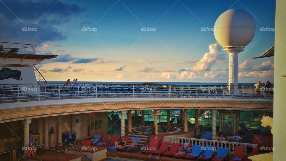 Pool deck looking to the horizon  on Royal Caribbean