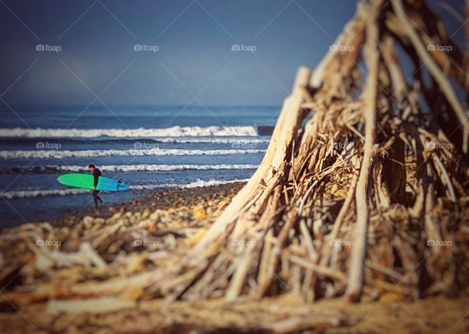 Surfer and Driftwood