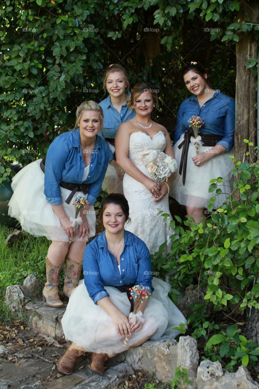 A bride and her girls
