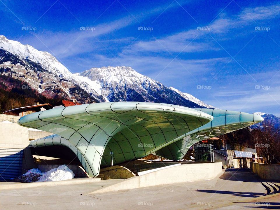 cable car station alps snow mountains landscape in Innsbruck