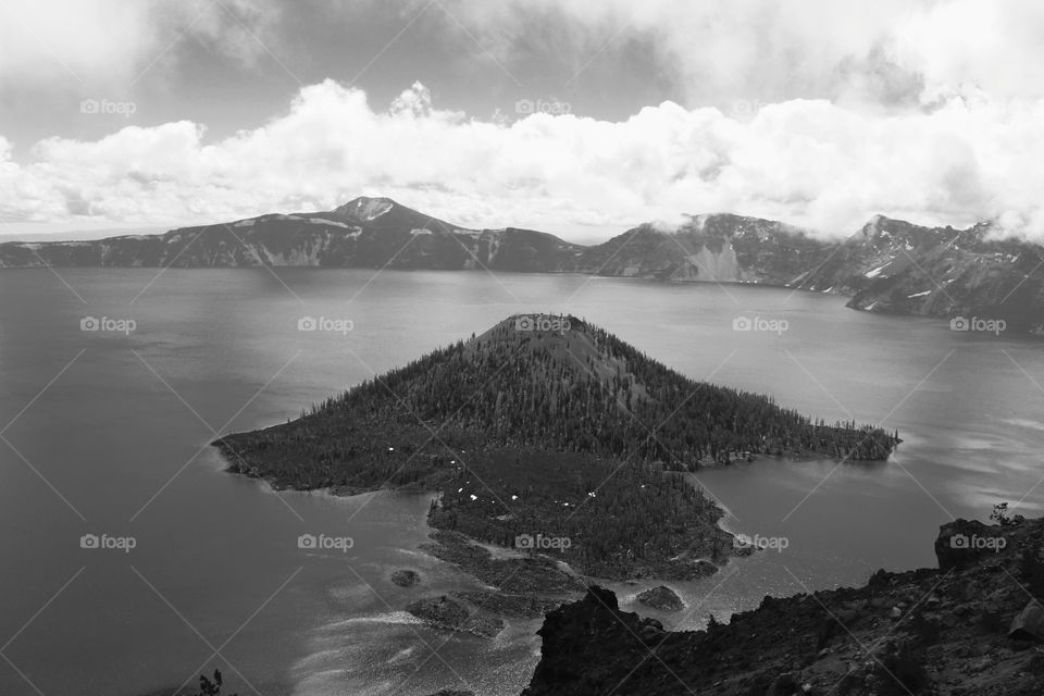 Crater lake, Oregon Black and White