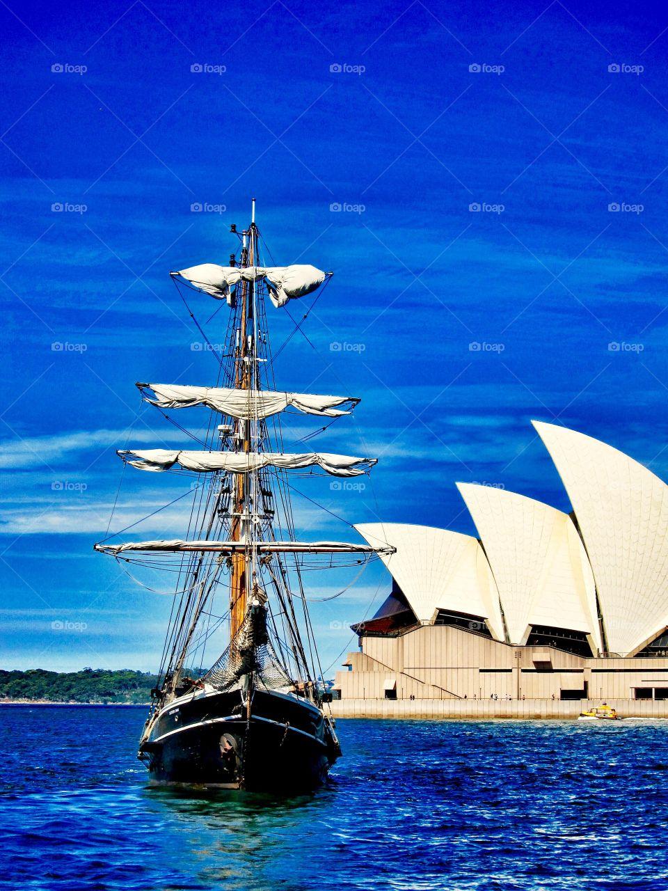 Sydney Opera House and a Tall Ship. Sydney Opera House and a Tall Ship