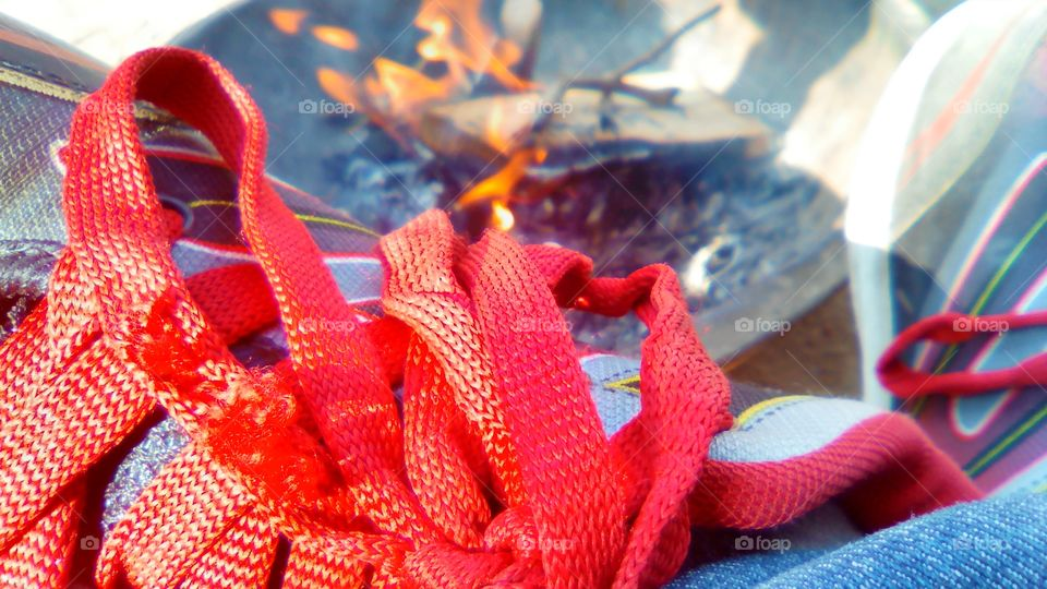 Close-up of red shoelace