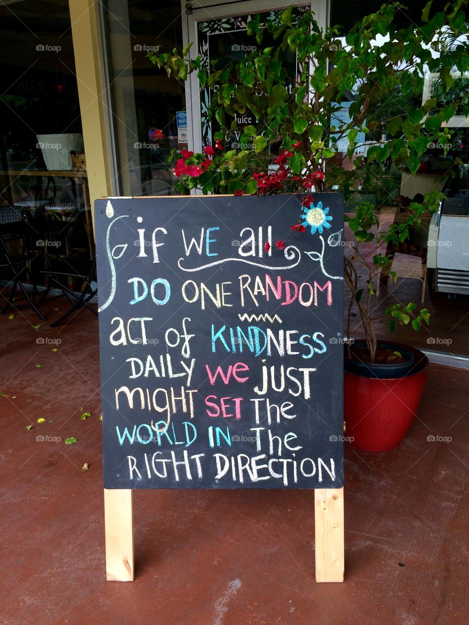 Acts of Kindness. Sign about 'random acts of kindness '  outside a store on Sanibel Island Florida