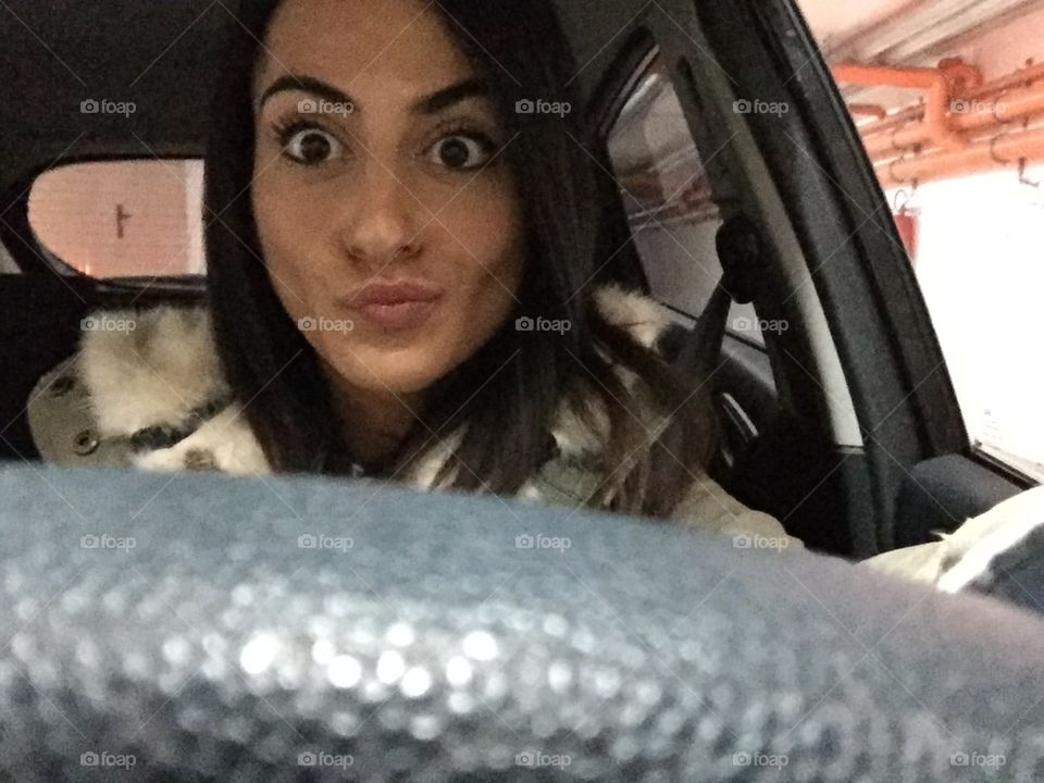 Selfie of a Woman in the car