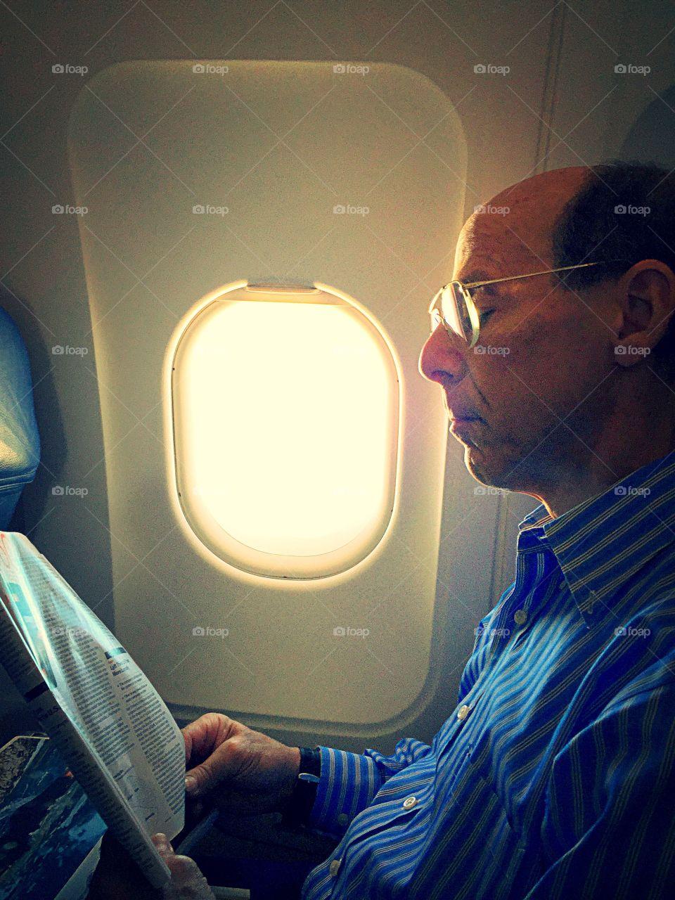 Businessman in a plane