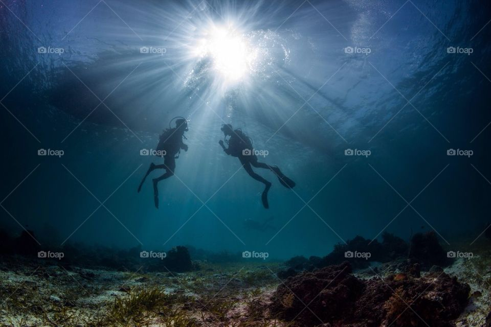 Divers hanging under a boat