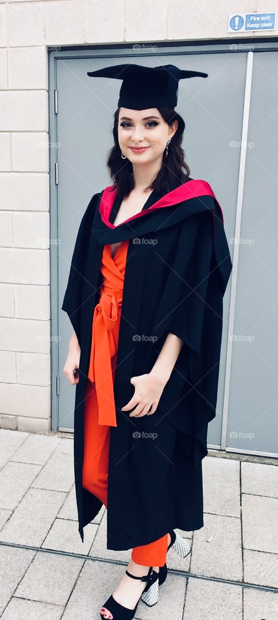 Young lady ready for her degree graduation ceremony , Warwick University