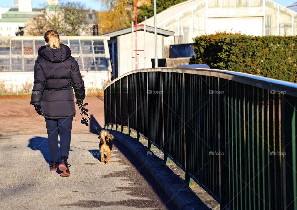 Walking the dog over a bridge
