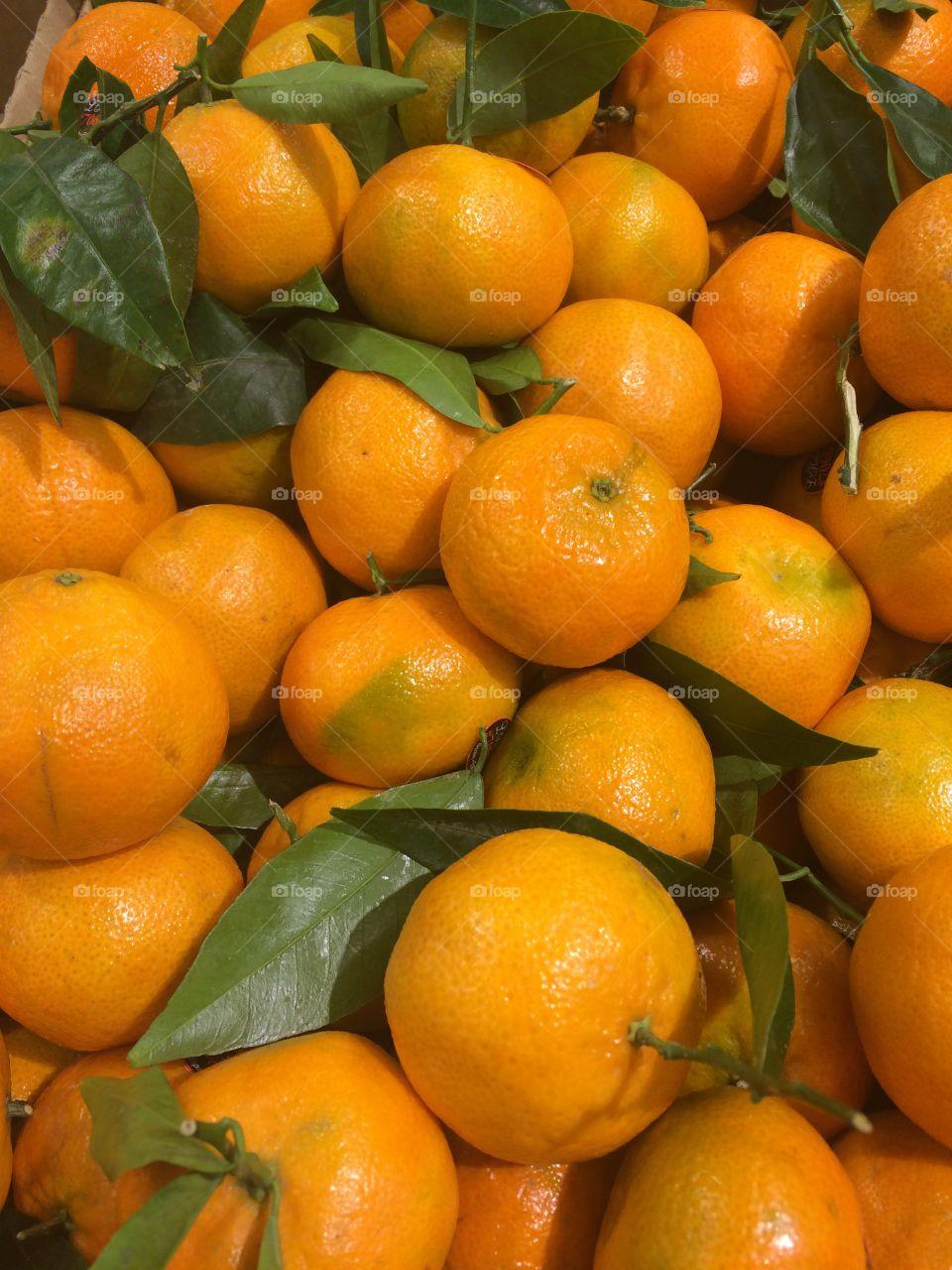 Full frame of oranges